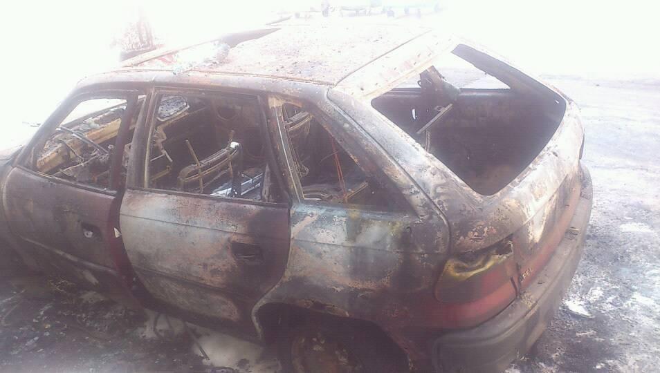 Pożar samochodu w Będzinie - fot. Andrzej Nowak