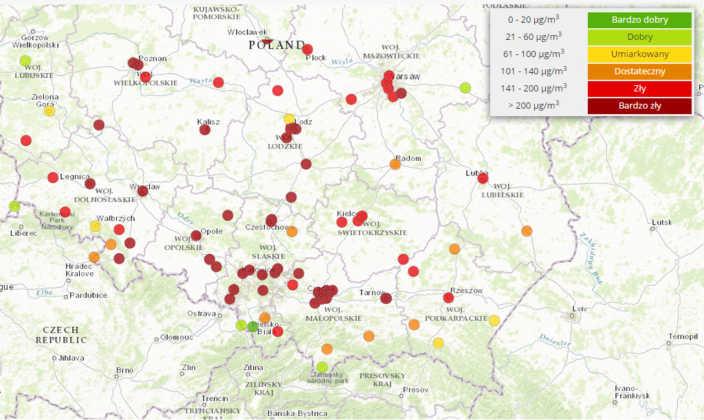 GIOŚ smog w regionie