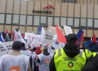 Protest związkowców ArcelorMittal - fot. AR