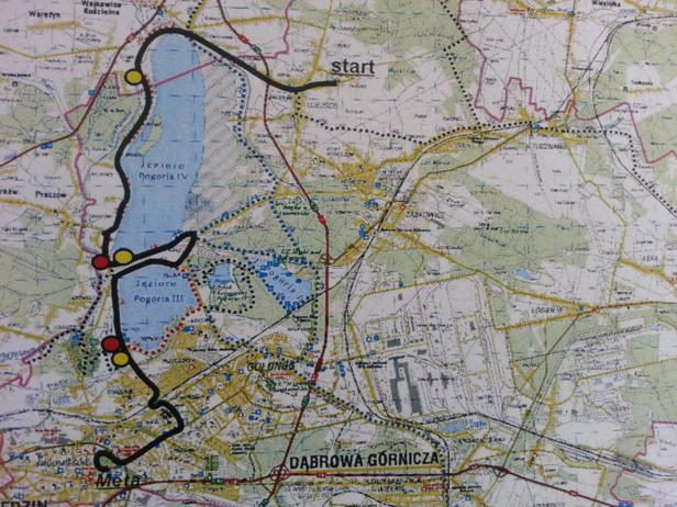 Trasa X Półmaratonu Dąbrowskiego