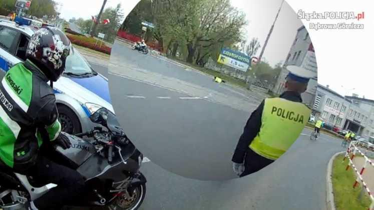 Motocyklista potrącił policjanta podczas ZMK – fot. KMP Dąbrowa Górnicza