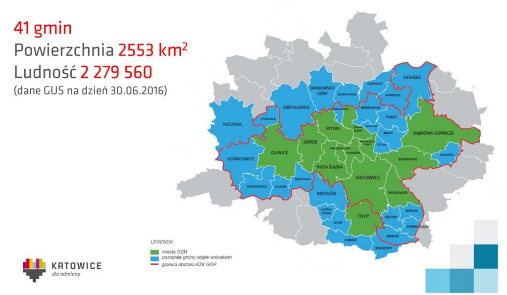 Obszar Górnośląsko-Zagłębiowskiej Metropolii - fot. mat. UM Katowice