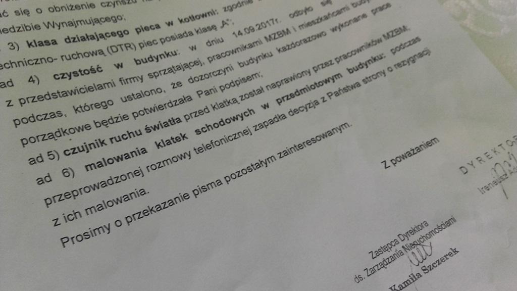 Pismo z MZBM skierowane do mieszkańców budynku przy ul. Związku Orła Białego - fot. AR