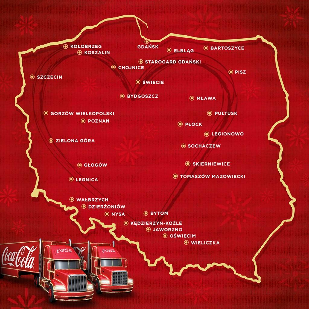 Mapa przejazdu ciężarówek Coca-Cola - fot. mat. pras.