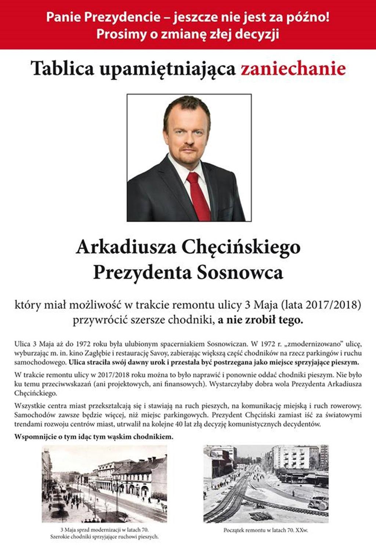 Apel w sprawie ulicy 3 Maja w Sosnowcu - fot. Dom Potoka