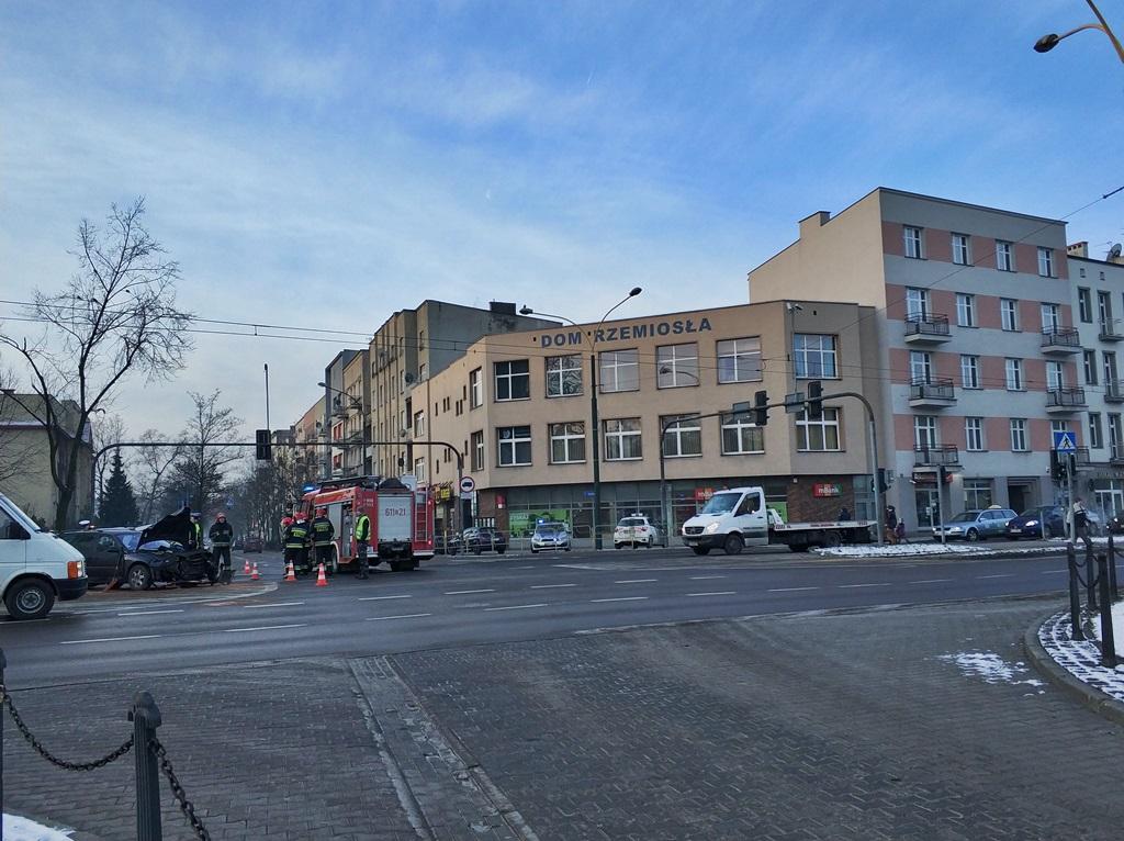 Zderzenie samochodów osobowych Sosnowiec - fot. MC
