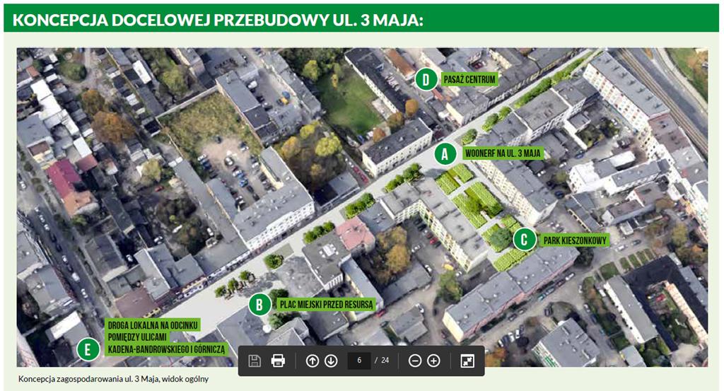 Koncepcja docelowej przebudowy ul. 3 Maja - fot. mat.pras.