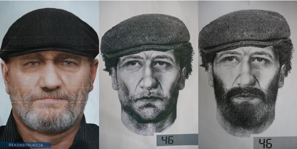 Rekonstrukcja twarzy zmarłego mężczyzny, którego szkielet znaleziono w Sosnowcu - fot. KMP w Sosnowcu