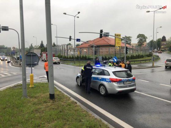 Śmiertelny wypadek na DK79 w Jaworznie – fot. KMP Jaworzno