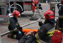 Alarm pożarowy w KPP Będzin - fot. Policja