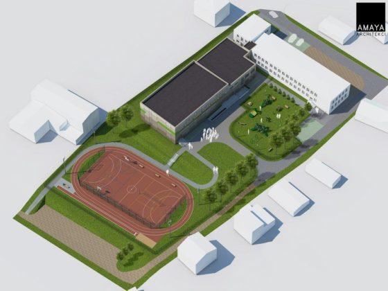 Plansza z nową salą gimnastyczną i boiskiem - fot. AMAYA Architekci Agnieszka i Bartosz Majewscy