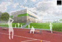 Wizualizacje nowej sali gimnastycznej -Plansza z nową salą gimnastyczną i boiskiem - fot. AMAYA Architekci Agnieszka i Bartosz Majewscy