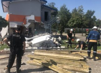 Wybuch przy ul. Abstorskich w Jaworznie - fot. Policja Jaworzno