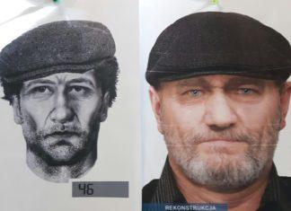 Rekonstrukcja twarzy zmarłego mężczyzny, którego szkielet znaleziono w Sosnowcu – fot. KMP w Sosnowcu
