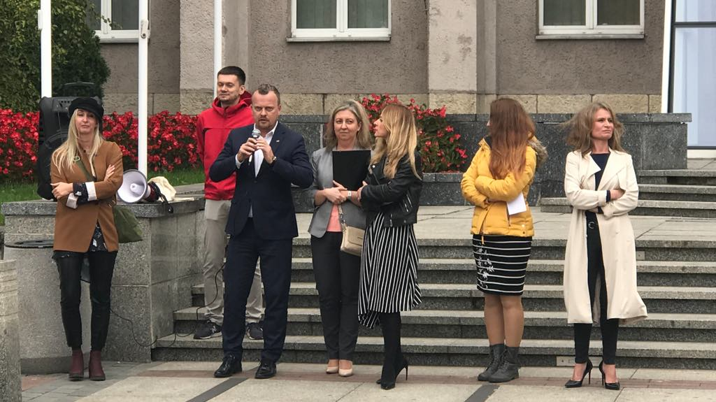 Protest pracowników sosnowieckiego MOPS-u – fot. archiwum prywatne