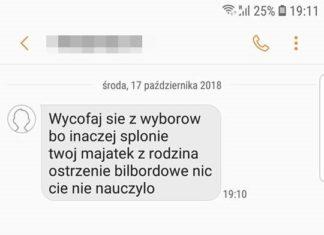 Treść wiadomości do kandydata PiS na prezydenta Dąbrowy Górniczej – fot. archiwum prywatne
