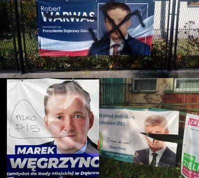 Zniszczone materiały wyborcze – fot. Marek Węgrzynowicz/Facebook, Edward Bober/Facebook, Dąbrowa Górnicza News/Facebook