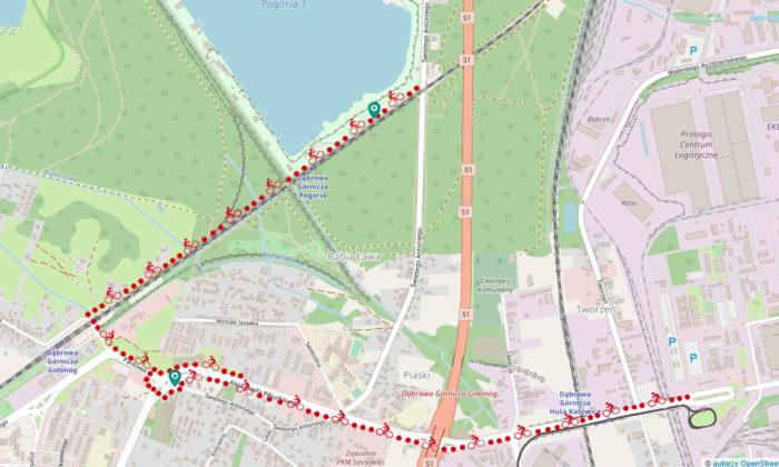 przebieg dróg rowerowych - wizualizacje UM Dąbrowa Górnicza