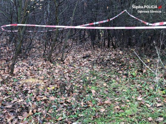 Artyleryjski pocisk w kompleksie leśnym na terenie Ząbkowic – fot. Policja