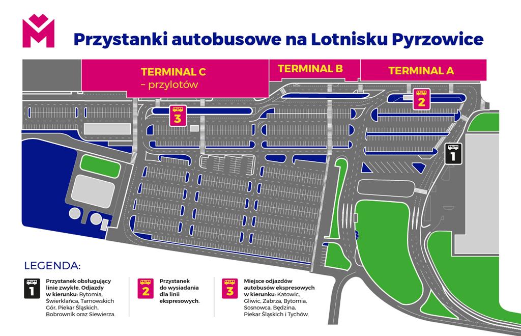 Autobus na lotnisko lokalizacja przystanków - fot. Metropolia GZM