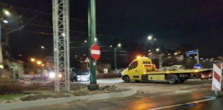 Wjechał na zamknięte rondo - fot. Facebook/ @Sosnowiec998