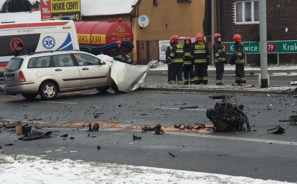 Wypadek w Jaworznie - fot. Grzegorz Białas/Facebook - Informacje drogowe Jaworzno i okolice