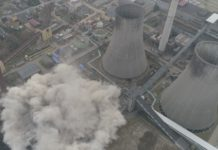 Wyburzenie chłodni kominowej elektrowni Łagisza – fot. grupa Tauron