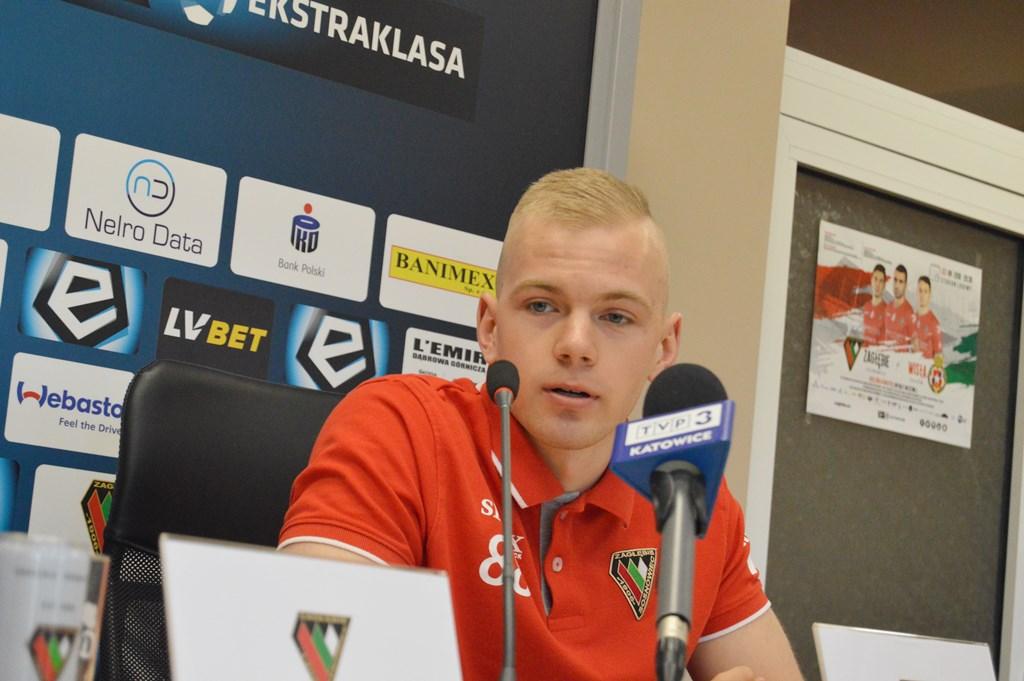 Olaf Nowak na konferencji prasowej przed meczem z Wisłą Kraków - fot. MZ