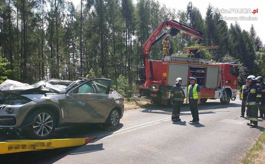 Wypadek na DW 790 w Dąbrowie Górniczej – fot. Policja Dąbrowa Górnicza