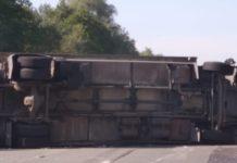 Ciężarówka wywróciła się na S1 w Sosnowcu - fot. RP