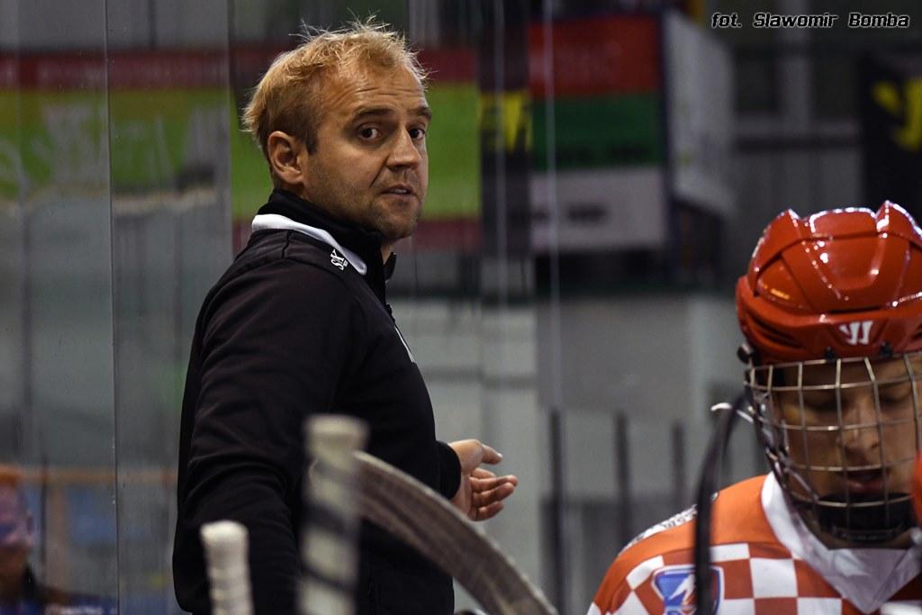 Trener hokejowego Zagłębia Marcin Kozłowski - fot. Sławomir Bomba