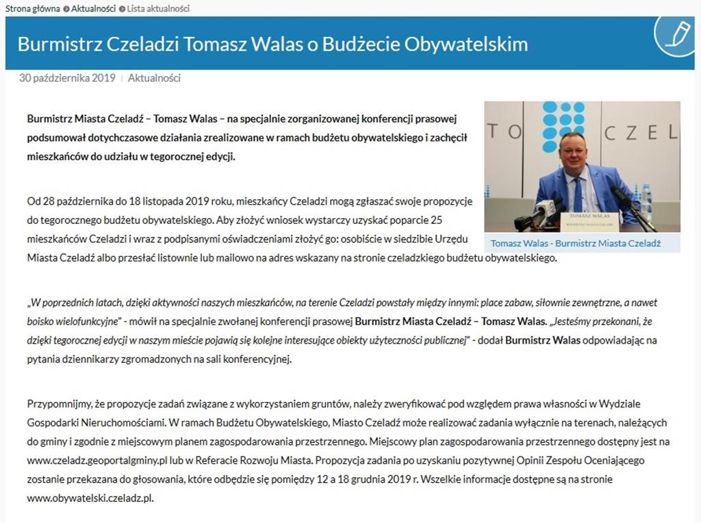 W Czeladzi doszło do zmiany na stanowisku burmistrza - fot. UM Czeladź