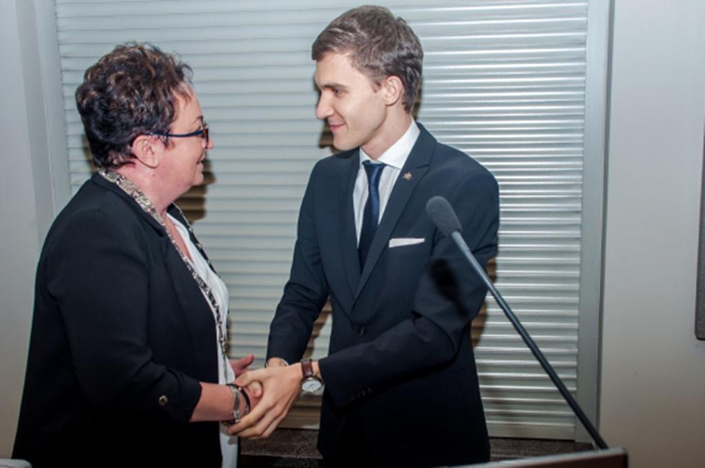Zmiana warty na stanowisku przewodniczącego Rady Miejskiej - fot. UM Sosnowiec