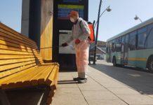 Trwa dezynfekcja przystanków autobusowych – fot. UM Jaworzno