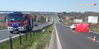 Śmiertelny wypadek motocyklisty na DK94 - fot. KMP w Dąbrowie Górniczej