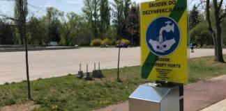Przy stacjach rowerowych w Sosnowcu zamontowano dozowniki do dezynfekcji rąk – fot. MZUK Sosnowiec