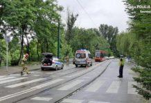 Groźne potrącenie dwóch osób na ul. Sobieskiego – fot. Policja Sosnowiec