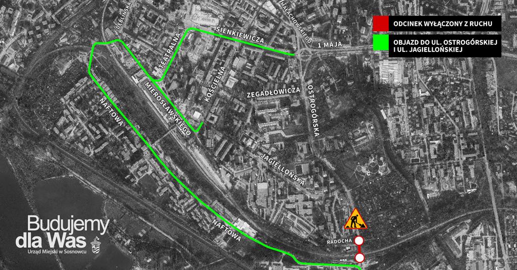 Objazdy w rejonie ulicy Ostrogórskiej w Sosnowcu - fot. UM Sosnowiec