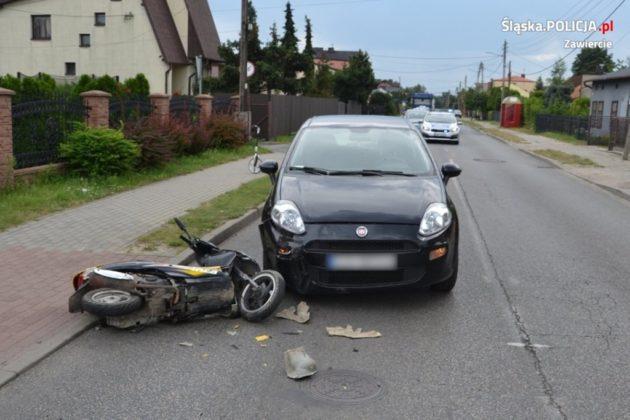 Pijany motorowerzysta spowodował kolizję – fot. Policja Zawiercie